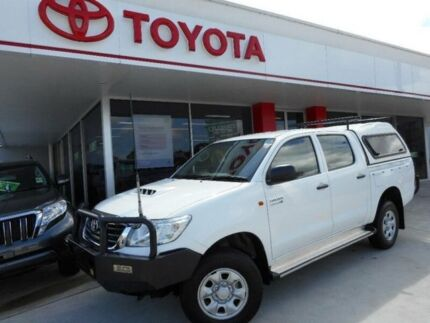 2012 Toyota Hilux KUN26R MY12 SR (4x4) Glacier White 5 Speed Manual Dual Cab Chassis Allawah Kogarah Area Preview