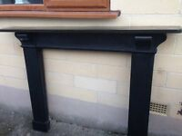 LARGE CAST IRON FIRE SURROUND. NOT SURE OF AGE, POSS EDWARDIAN/VICTORIAN?