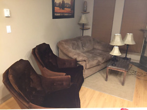 Livingroom - Love Seat, 2 chairs, coffee table lamps