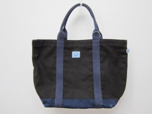Multi Purpose Great Heavy Canvas Boat Tote Bag in Black X Navy, Made in U.S.A.