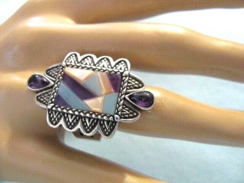 CAROLYN POLLACK STERLING SILVER MULTI INLAY GEMSTONES BOLD RING ~ SIZE 10