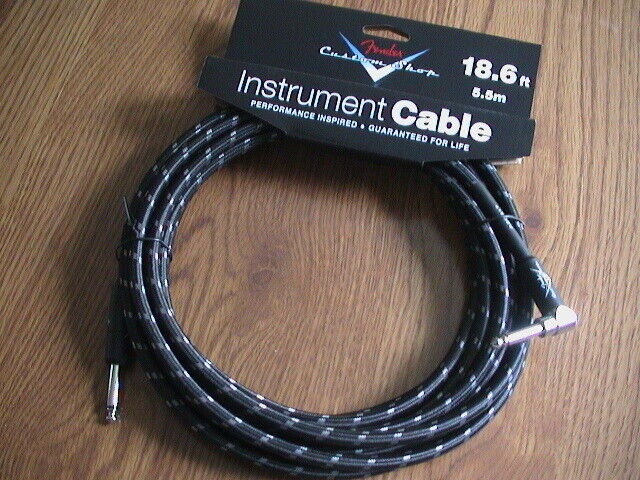 FENDER CUSTOM SHOP BLACK TWEED CABLE - STRAIGHT/ANGLED ENDS 18.6FT 099-0820-038