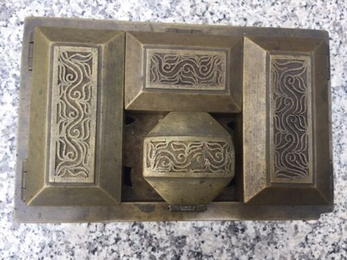 ANTIQUE BRASS BETEL NUT BOX WITH ENGRAVED DESIGN