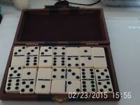 x2 Sets of Dominoes - Leatherette Case & Wooden Box