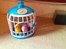 Little live pets with bird cage 2 birds included plus robo fish