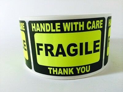 250 2x3 Fragile Stickers Handle With Care Stickers Yellow Neon Fluorescent New