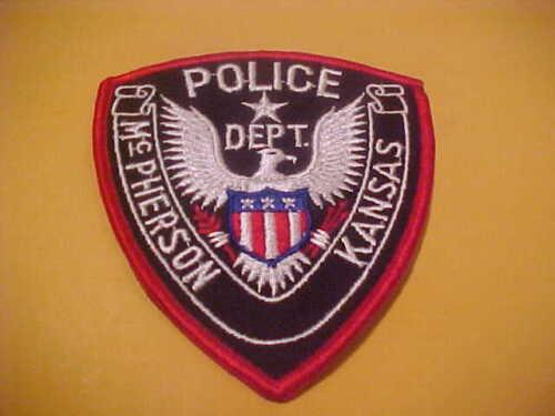 MC PHERSON KANSAS POLICE PATCH SHOULDER SIZE UNUSED brown