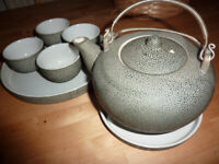 Beautiful Stoneware Tea Set, 4x Cups Teapot & Tray, Oriental Design Ornate China FAB GIFT!!