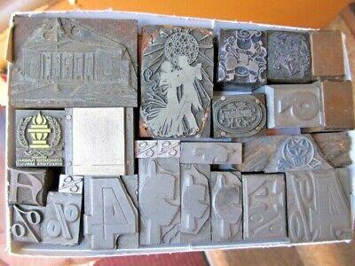 Lot Of 24 Printing Letterpress Wood Metal Printers Blocks Mixed Designs