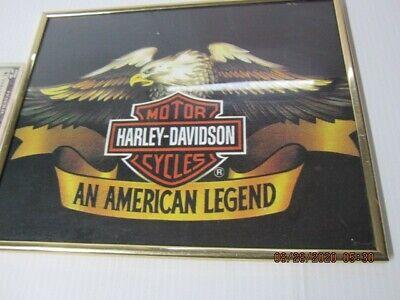 """Harley Davidson-wall picture,sign-framed-Original Vintage-10"""" x 8""""-Under Glass-!"""