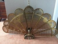 Decorative brass fire screen