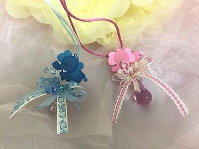 Pacifier Elephant Necklaces Baby Shower Games Favors Prizes Pink/Blue 12PC - Pacifier Baby Shower Favors