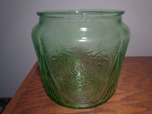 Royal Lace- Cookie/Biscuit Jar-- NO LID-Green--Depression Glass