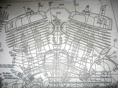 HARLEY DAVIDSON 45 Flathead Engine BLUEPRINT WLA WL HD