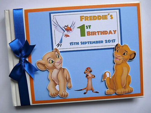 Personalised Lion King Simba boys birthday guest book, Lion King album, gift