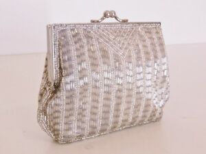 Beaded Evening Clutch Purse Bag Handbag - Silver (02040121)