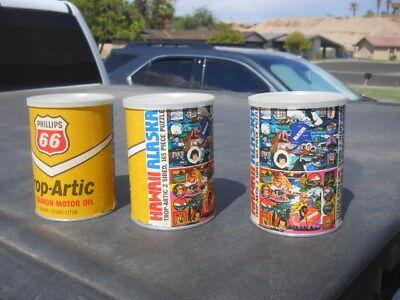 3 Vintage Trop Arctic Phillips 66 Quart Oil Can Alaska Hawaii 2 Sided Puzzles