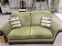 Vintage 2 seater sofa, olive green fabric with wooden frame
