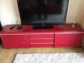 Modern design Red High Gloss TV stand and storage cabinet
