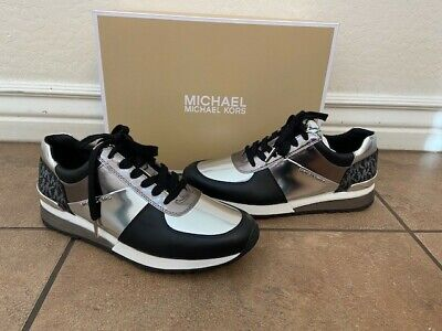 NIB Michael Kors Allie Wrap Mirror Metallic Trainer Sneaker Shoes 8.5 Black