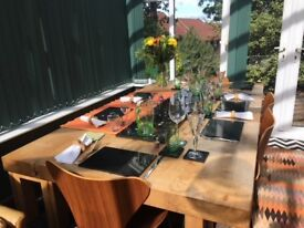 Large, solid wild oak, handmade dining table seats 8-10 comfortably, includes solid oak bench