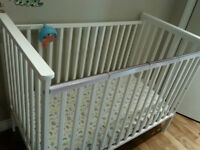 White Wood Crib and Mattress, plus extras