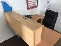 office furniture Desk, File Holder, 3 drawers and leather Chair Move forces sale