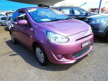 2014 Mitsubishi Mirage LA ES Hatchback 5dr CVT 1sp 1.2i [MY14] Pink Constant Variable Hatchback Colyton Penrith Area Preview