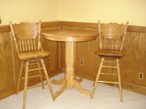 PUB TABLE AND 2 SWIVAL CHAIRS