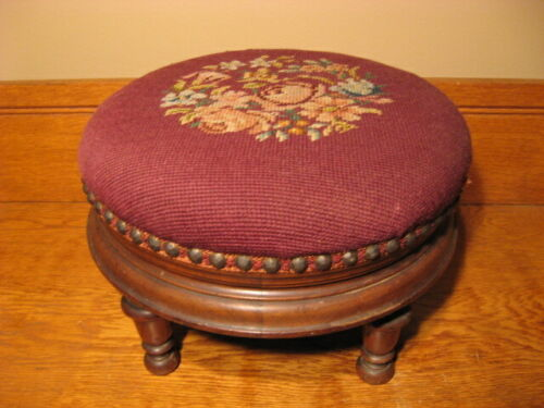 Antique Victorian Needlepoint Round Foot Stool Original Condition Turned Legs