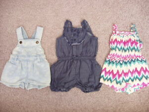 Baby Girl Lot of 3 Summer Rompers, Size 0-3 Months