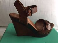 Clarks Tabloid Story Brown Ladies Sandal