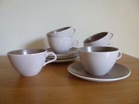 6 Poole Cups & Saucers