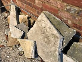 Quantity of Reclaimed York Paving. Irregular sizes for crazy paving