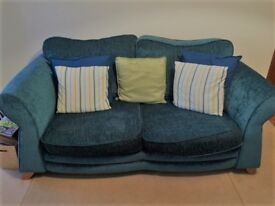Teal 2 Seater Fabric Sofa & Matching Armchair Excellent condition - DFS