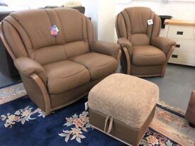 BRAND NEW leather 2+1+storage footstool, £750.