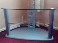 Glass TV Coner Entertainment Stand