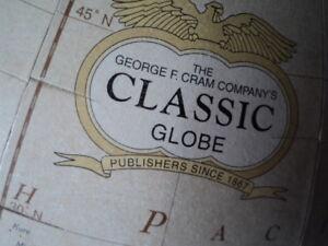 globe terrestre  George F Cram Co finition Bronze Antique