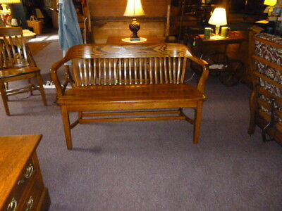 Used, Antique Oak Bench School, Library, train station, Barber shop refinished 1900's for sale  Pennsburg