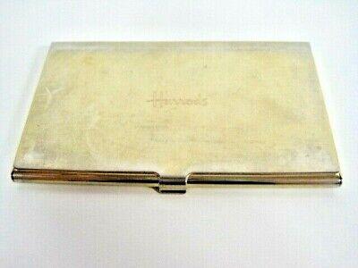 Harrods Gold Tone British Vintage Business Card Holder Metal Plated Hinged Lid