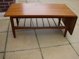 Early G-Plan drop leaf teak coffee table. £120