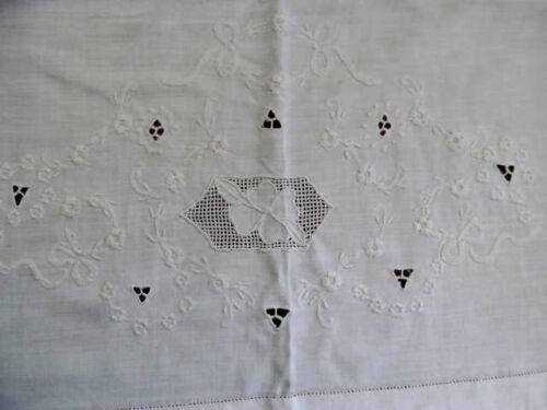 "FAB Antique Flat Sheet Italy Embroidered Cutwork Drawnwork Flowers Bows~84""wide"