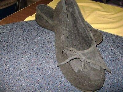 Minnetonka Moc Moccasins Kilty Suede Hardsole Shoes10 womens black Womens Kilty Suede Moc