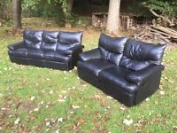 Black leather 3 & 2 reclining sofa suite, £50