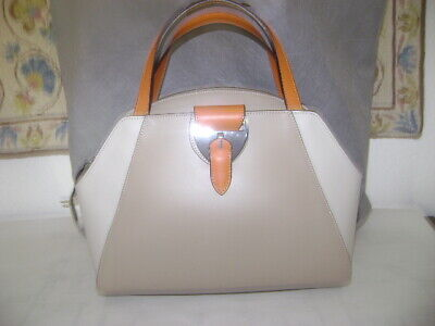 NWT Elegant NICOLI Italy Tri-color Beige-Taupe-Orange-Leather handbag/shoulder-