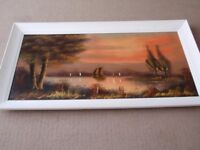 Oil on Canvas - Boat at Sunset Painting