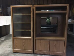 two piece tv/stereo unit with glass doors