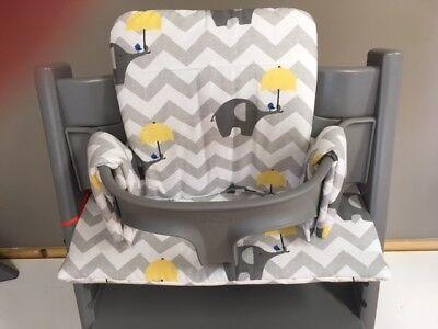 Cushion to fit Stokke Tripp Trapp High Chair elephant / chevrons BNIB