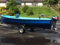 fishing boat 17ft Darragh type boat and 6hp two stroke yamaha outboard engine
