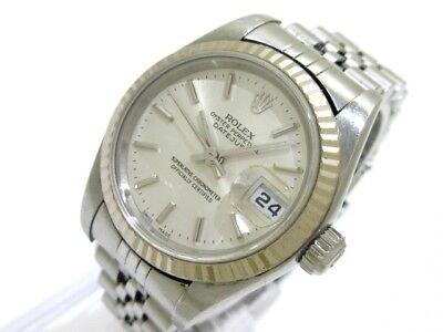 Auth ROLEX Datejust 79174 Silver, 18K White Gold Y966351  Women